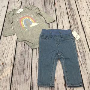 Gap 6-12 Month Girls Rainbow Shirt & Soft Jeans